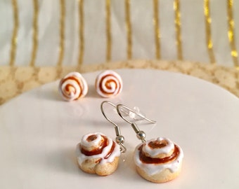 Cinnamon Bun Earrings, Cinnamon Roll Earrings,  Cinnamon Bun Necklace