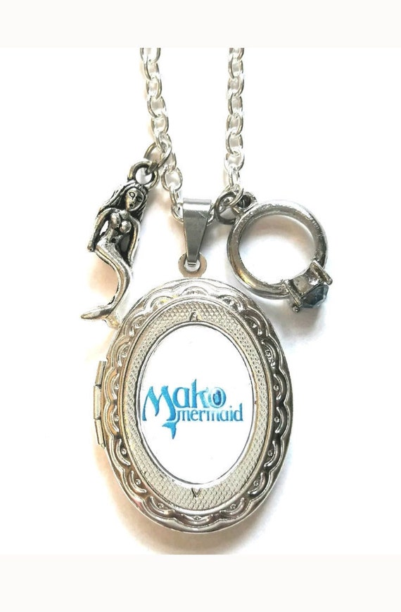 Mako Mermaid h2o necklace locket. Ring mermaid charms