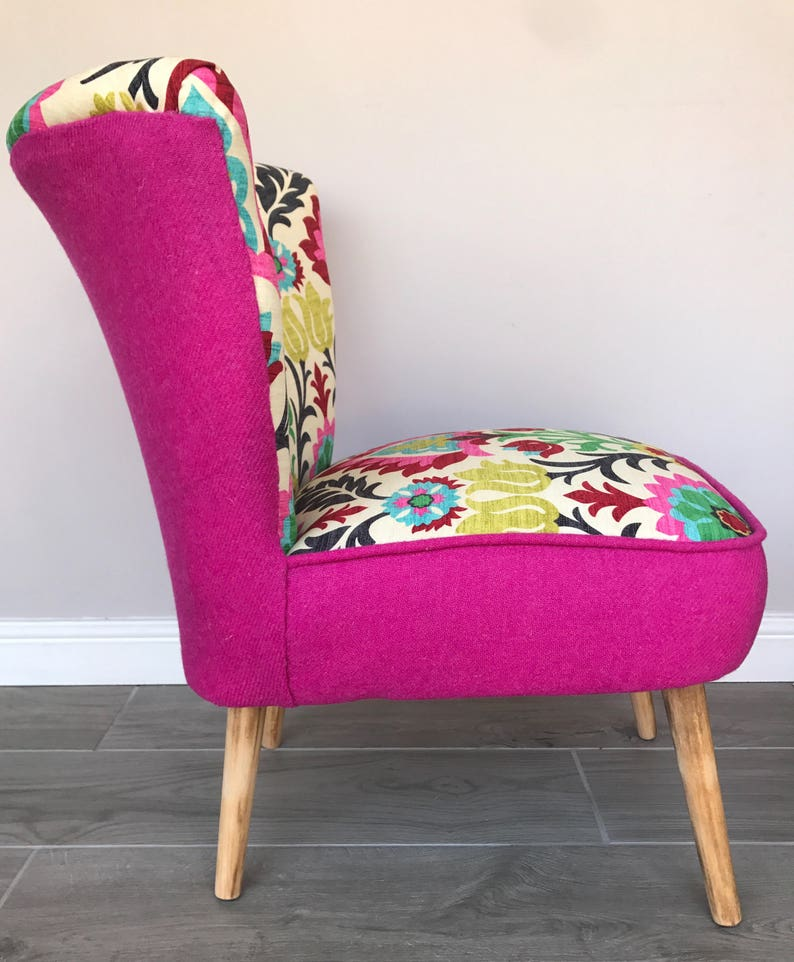 50s Cocktail Chair In Santa Maria Desert Flower Fabric Etsy