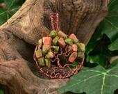 Wire-woven Tree of Life Pendant, Antique Copper Unakite