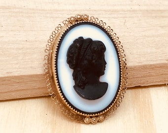 Amco 14k Gold Filled Black Cameo Brooch Pendant (vintage retro 50s 60s oval woman bust profile signed white necklace signed)