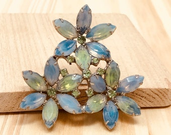 Kramer of New York Blue and Green Flower Brooch (vintage retro 50s 60s signed large big wedding bridal spring rhinestone milky prong pastel)