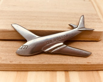 Vintage SCA Pewter Airplane Brooch (retro 70s 80s signed large big jet vehicle plane flight flying)