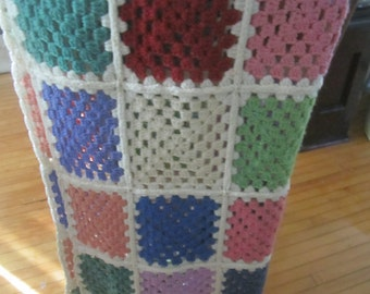 Granny Square Throw Afghan Unusual Colors Handmade