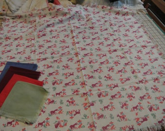 Vintage Tablecloth with Matching Napkins Great Colors Mexican Donkey Sombrero Cactus