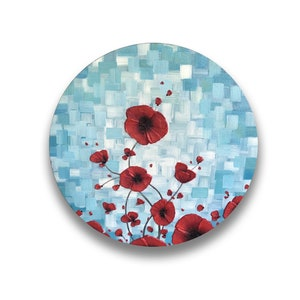 contemporary art unique gift for her Red poppies on blue background original painting on round canvas for the home or office
