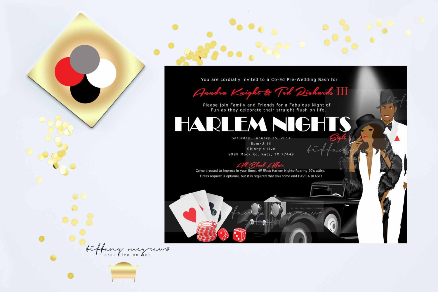 harlem nights themed engagement party etsy