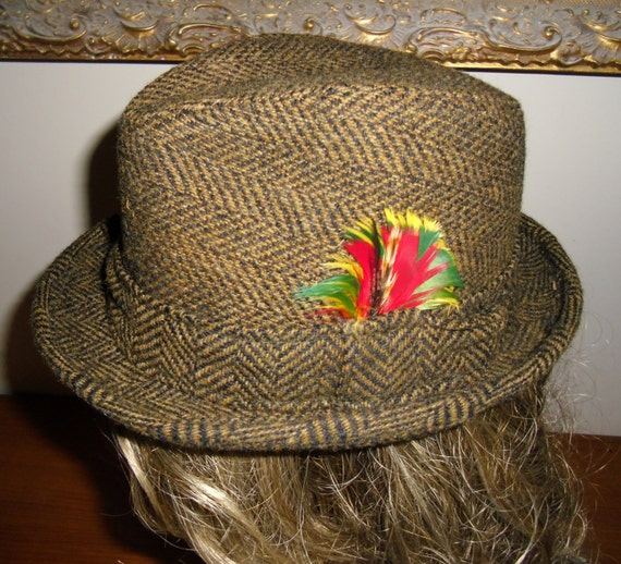 Vintage 1940's/1950's Flip it Fedora, Wool Tweed F