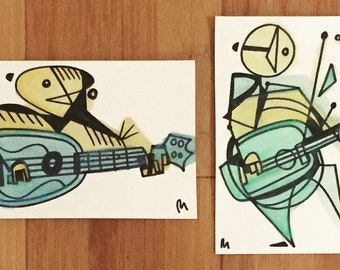 Two Ukulele Players -two 4 x 6 pieces