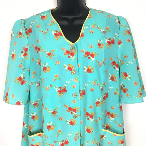 80s Vintage Floral Housecoat Robe Womens Lounge We