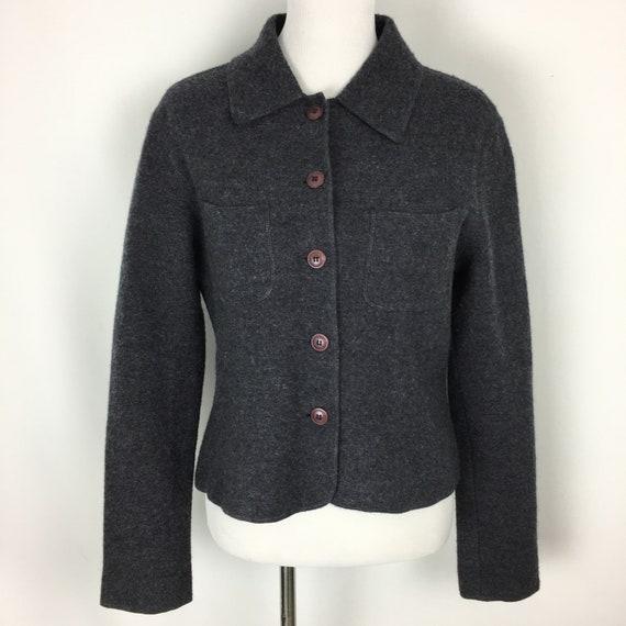 Vintage Womens Boxy Jacket, 90s Gray Knit Wool Bla