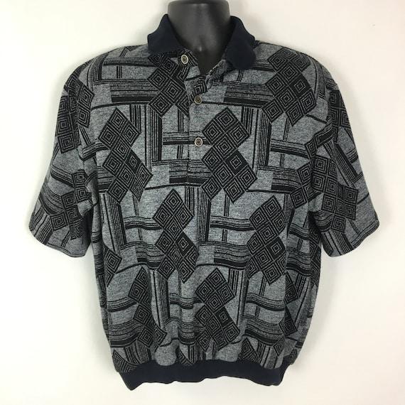 Vintage Mens Grandpa Polo Shirt Large, 80s 90s Ove