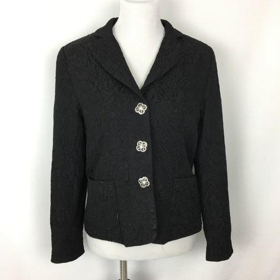 Vintage Womens Black Blazer Size 8, 80s Textured B