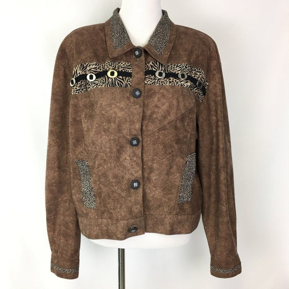 Vintage Womens Button Front Jacket, 80s Brown Boxy
