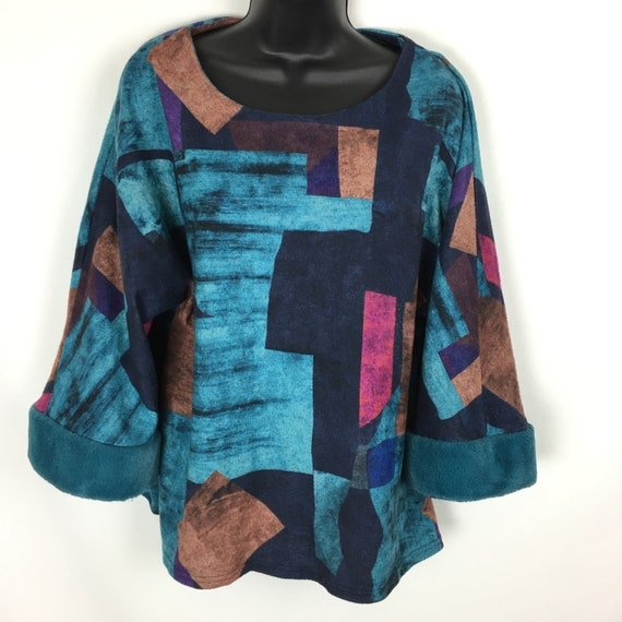 Vintage Womens Oversized Shirt, 80s Pullover Fleec