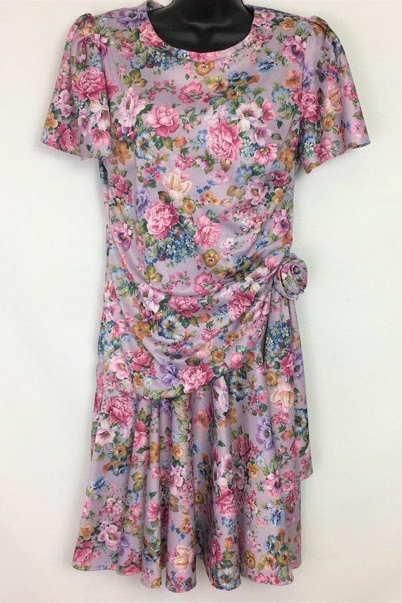 Vintage Womens Dress Medium, 80s Purple Floral Shi