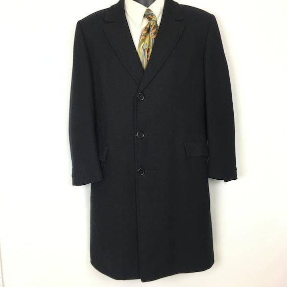 Vintage Mens Overcoat Medium, 60s Mens Black Wool