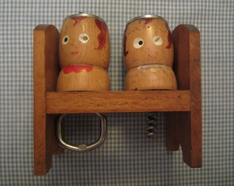 Beverage Openers in a Wooden Caddy