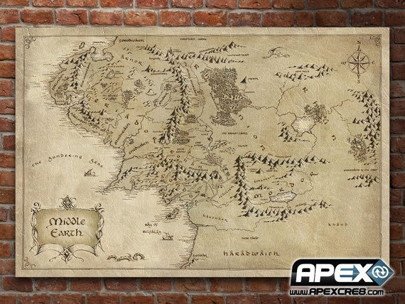 map middle earth lord of the rings hobbit stunning canvas