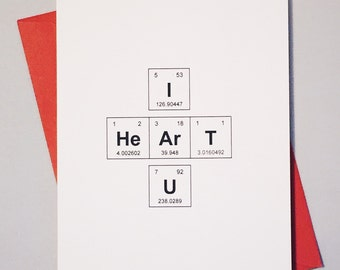 Periodic table of the elements i love you like you hey i heart u periodic table of the elements i heart u geek love card sentimental elements chemistry card for adorkables urtaz Choice Image