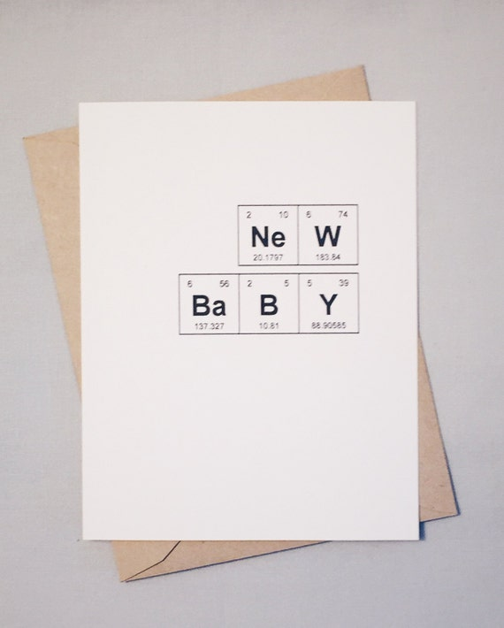 New Baby Periodic Table Of The Elements Congratulations Card Etsy