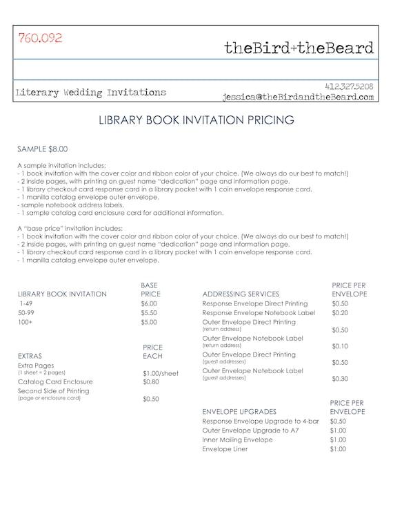 Bibliotheek Boek Huwelijksuitnodigingen Literaire Bruiloft Voorbeeld