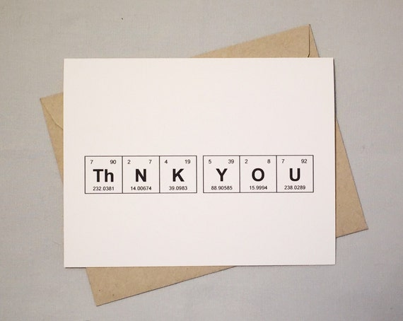 Metallic Thank You Card  Silver or Gold  Periodic Table of the Elements \u201cThNK YOU Sentimental Elements Card  Teacher Thank You Note