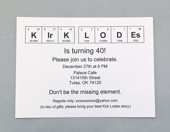 Super Chemistry Invitation Periodic Table Of The Elements Birthday Invitation Set Of 20 Science Invite Download Free Architecture Designs Intelgarnamadebymaigaardcom