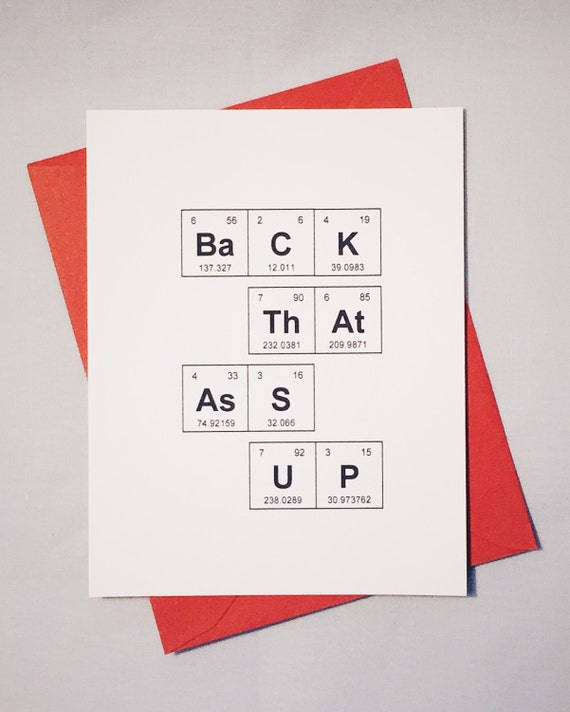 Sassy Love Card Periodic Table Of The Elements Back That Etsy