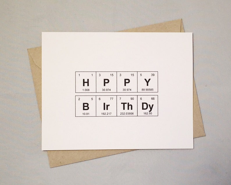 Happy Birthday Card Periodic Table Of The Elements HPPY
