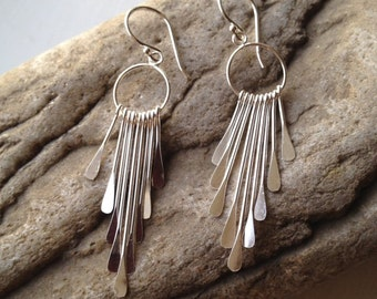 Sterling Silver Dangle Earrings Modern 30th 40th 50th Birthday Gift Ideas,  Gift For Her, Women's Dangle Earrings