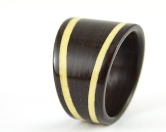 Rosewood Ring Tapered Bentwood Design With Twin Sycamore Wood Ring Inlays