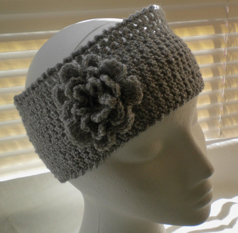 Crochet Headband Pattern With Flower Sparkle Headband With Etsy