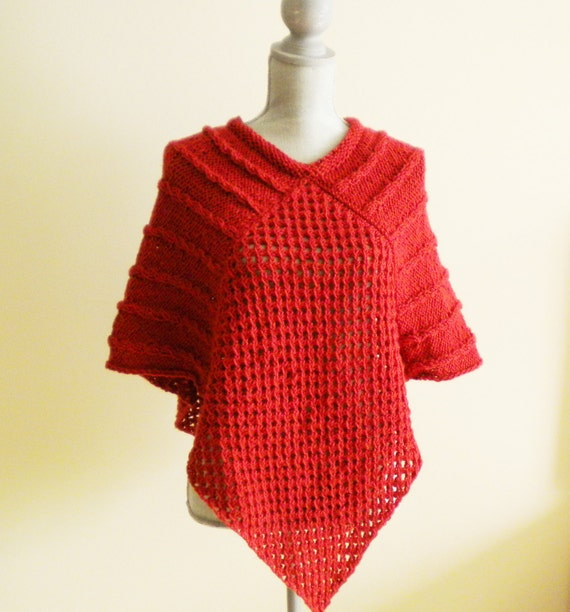 Knit Poncho Pattern Autumn Poncho Easy Poncho Sweater Knitted Cape Wrap Mock Cable Knit Pattern