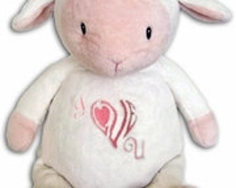b5daa75de18 Personalized Plush Animals for Little Ones.White and Pink Lamb. Embroidered  with name. Birth square. New Baby. Perfect Gift! Personalized.