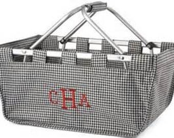 Embroidered Houndstooth Market Tote. Collapsible. Monogram with machine embroidery. Black and white. Market Basket. Farmers Market.  Storage