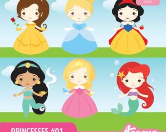 Princesses 01 Clipart Set - Instant Download - PNG Files.