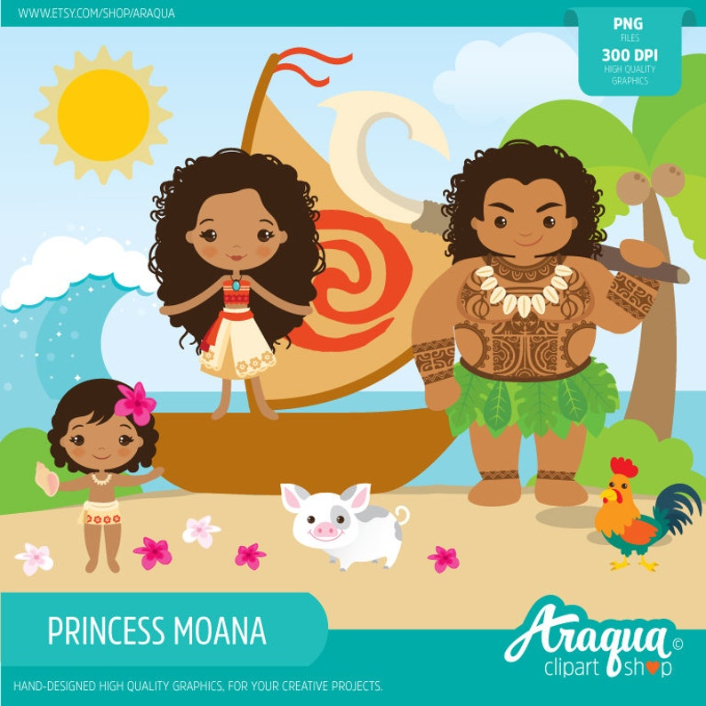 The Polynesian Princess Moana Instant Download Png Files Etsy