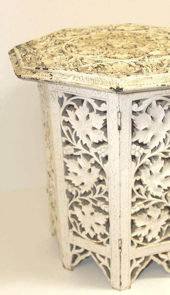 Vintage Moroccan Style Wood Carved Octagonal Side Table