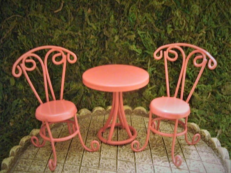 Miniature Dollhouse FAIRY GARDEN ~ TINY Orange Metal Bistro Table /& Chairs ~ NEW