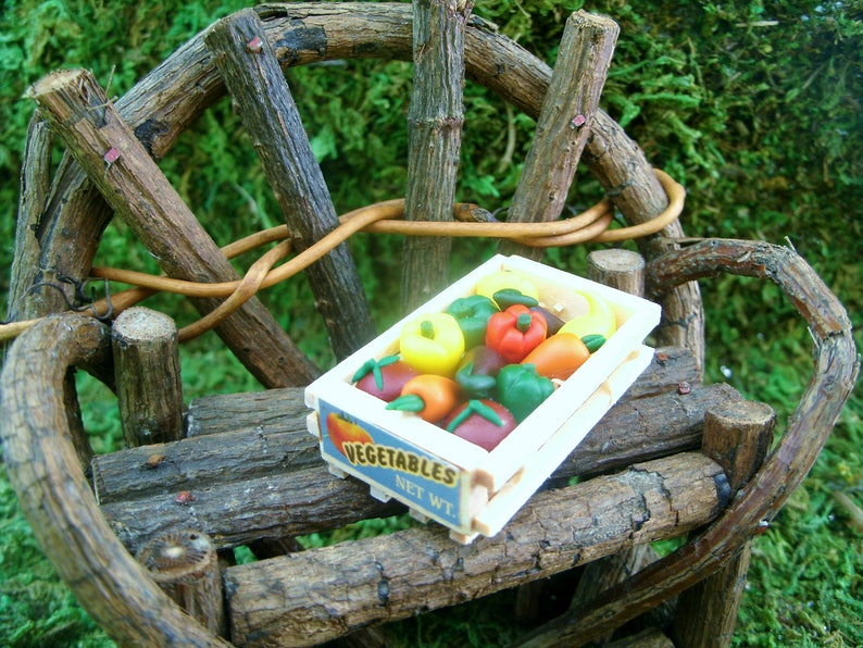 Mini Crate And Garden Vegetables Fairy Garden Terrarium Miniature Gardening Dollhouse Miniature