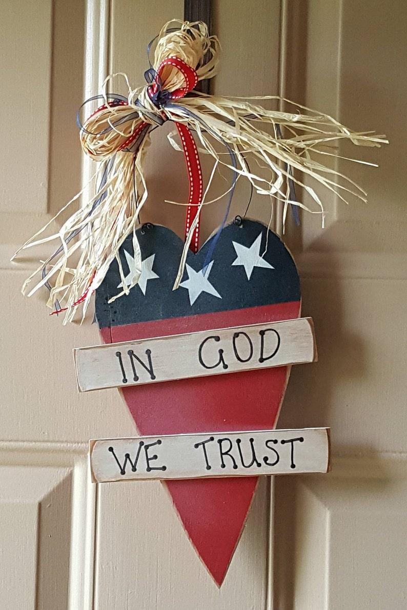 Patriotic Heart In God We Trust DoorWall Hanging
