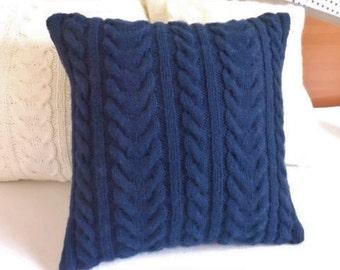 Custom Navy Blue Knit Pillow Cover, Throw Pillow, Cable Knit Pillow Case, Hand Knit Cushion Cover, Decorative Couch Pillow, Knit Pillow Sham