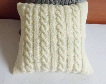 Ivory Cable Knit Pillow Cover, Throw Pillow Custom, Hand Knit Pillow Cover, Cream Knit Pillow Case, 16x16 Decorative Couch Pillow