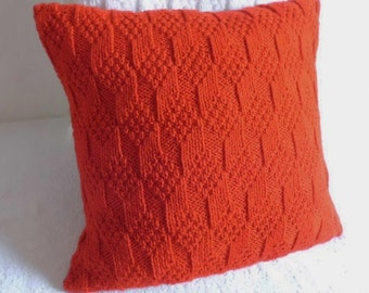 True Red Hand Knit Pillow Cover, Couch Decorative Pillow, Throw Pillow, Knit Pillow Case, Red Cushion Cover, Knit Pillow Sham