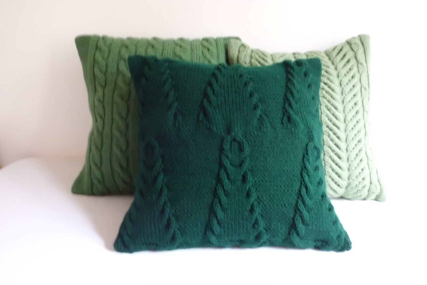 Custom Trees Knit Pillow Cover Throw Pillow Hand Knit Green Etsy