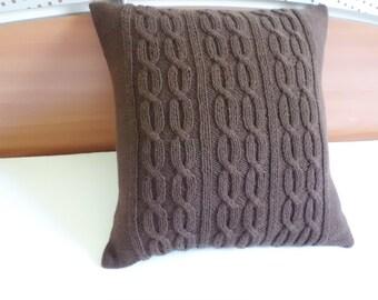 Chocolate Brown Hand Knit Pillow, Throw Pillow, Decorative Pillow, Cable Knit Pillow Cover, 16X16 Knit Pillow Case
