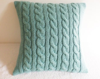 Decorative Mint Cable Knit Throw Pillow, Knitted Pillow Cover, Hand Knit Pillow Case, Light  Mint  Couch Pillow, 16x16 Knit Pillow Case