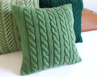 Custom Cable Knit Pillow Cover, Throw Pillow, Hand Knit Green Pillow Case, Decorative Couch Pillow, Knitted Pillow Sham