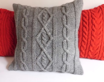 Custom  Pure Wool Hand Knit Pillow Cover, Throw Pillow, Cable Knit Pillow Cover Charcoal Gray, Knit Cushion Cover, Decorative Couch Pillow